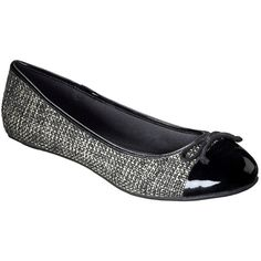 Women's Merona® Madge Tweed Ballet Flat - Black ($20) ❤ liked on Polyvore