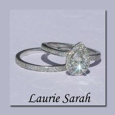Pear Shaped Diamond Engagement Ring and Diamond Half Eternity Band - Wedding Set - LS1163