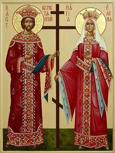 Saints Constantine and Helen Religious Images, Religious Icons, Religious Art, Byzantine Icons, Byzantine Art, St Constantine, Saint Helens, Religion, Russian Orthodox