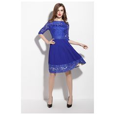 Royal Blue Lace Applique Fit And Flare Dress With Sleeves Party Dresses For Women, Club Dresses, Casual Dresses, Dresses For Work, Formal Dresses, Lace Dresses, Half Sleeve Women, Blue Party Dress, Lace Applique