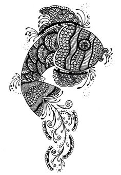 zentangle fish -- details on outside of fish Doodles Zentangles, Zentangle Drawings, Zentangle Patterns, Doodle Drawings, Doodle Art, Fish Zentangle, Colouring Pages, Adult Coloring Pages, Coloring Books