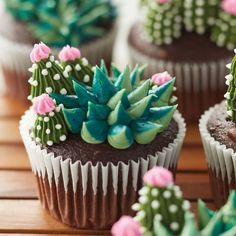 Turn your cupcakes into little miniature gardens with this blooming succulent cupcake … – Kuchen dekorieren – Cactus Cupcake Recipes, Cupcake Cakes, Dessert Recipes, Cupcake Frosting, Beautiful Cakes, Amazing Cakes, Succulent Cupcakes, Cactus Cupcakes, Funny Cupcakes