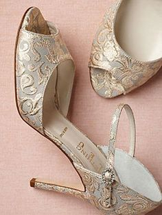 11 Fabulous #Wedding #Shoes to Rock Down the Aisle: BHLDN Burgundian heels, $320