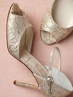 11 Fabulous #Wedding #Shoes to Rock Down the Aisle: BHLDN Burgundian heels, $320