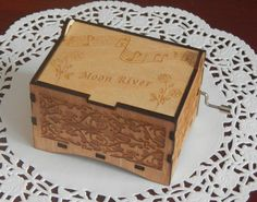 "Jewelry Music Box, ""Moon River"" by Henry Mancini, Laser Engraved Wooden Interlocking Hand Crank Storage Music Box"