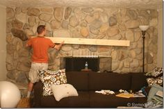 Installing a wood mantel on a stone or brick fireplace wall Brick Fireplace Wall, Sandstone Fireplace, Wall Mounted Fireplace, Wall Mount Electric Fireplace, Fireplace Shelves, Brick Fireplace Makeover, Fireplace Mantle, Fireplace Ideas, Diy Mantel