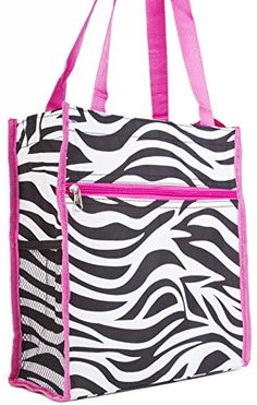 db8382ac74b Medium Travel Tote Bag Black and White Zebra Print with Pink Trim    Find  out