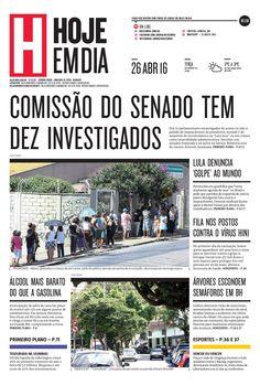 Capa do dia 26/04/2016 #HojeEmDia #Jornal #Notícias #News #Newspaper