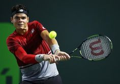 Milos Raonic in action during Miami Open 2016 semi-finals...