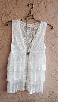 Anthropologie antique white Lace ruffle kimono vest