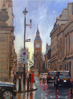Original handpainted artwork on stretched canvas in acrylic paint by international selling UK artist Pete Rumney. Painting Snow, Hand Painting Art, Love Painting, Footsteps In The Sand, Rooftop Terrace Design, London Night, New Art, Big Ben, The Originals