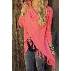 $17.99 Charming Solid Color Tassel Hem Asymmetric Loose T-Shirt For Women