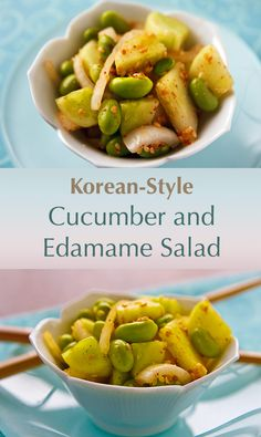 This edamame-enriched version of Korean cucumber salad is hot and spicy and sesame-infused. Delicious as a side dish or on rice in bi bim bap.