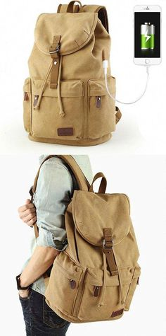 Cheap Flap Travel Canvas Backpack With USB Interface Drawstring Large Capacity Camping Rucksack For Big Sale!Flap Travel Canvas Backpack With USB Interface Drawstring Large Capacity Camping Rucksack Lace Backpack, Retro Backpack, Striped Backpack, Backpack For Teens, Fashion Backpack, Brown Backpacks, Cool Backpacks, Canvas Backpacks, College Backpacks
