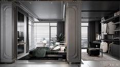 Project #LLR_A_220 Apartment Bedroom Closet Design, Home Bedroom, Bedrooms, Interior Architecture, Interior Design, Column Design, Apartment Projects, Classic Interior, Luxury Apartments