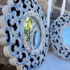 Blue and gray distressed, round, scroll, Victorian style mirrors. Can purchase as individual or set of two or three. Comes ready to hang. Victorian Mirror, Distressed Mirror, Blue Mirrors, Handmade Items, Handmade Gifts, Home Decor Items, Victorian Fashion, Farmhouse, Etsy Shop