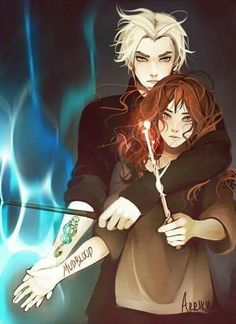 harry potter, draco, and hermione image