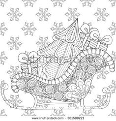 Christmas sledges of Santa with Christmas tree, gifts on snowflakes seamless pattern for adult anti stress coloring page, art therapy, tattoo. Vector illustration, artistic hand drawn sketch.
