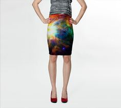 Wearable Art, custom made, exclusive print design artful stretch fitted skirt shaping flattering abstract design Galaxy light universe space by artdreamstudio. Explore more products on http://artdreamstudio.etsy.com