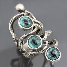 Evil Eye Ring Silver Branch Ring Dragon Eye Ring