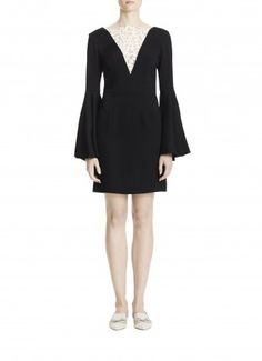 Bell Sleeve Fitted Dress with Laser Cut Detail