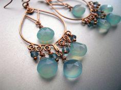 Items similar to Rose Gold Aqua earrings, Rose Gold Earrings, Aqua Chalcedony earrings. Blue Earrings, Chandelier earrings, style: Goddess on Etsy Rose Gold Chandelier, Chandelier Earrings, Rose Gold Earrings, Pearl Earrings, Artisan Jewelry, Handmade Jewelry, Jewels, Aquamarines, Jewellery Box