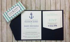 Nautical Pocketfold Wedding Invitation - Anchor, Sailing, Boat Theme