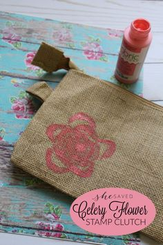 Such a fun and easy craft, this Celery Flower stamp clutch is such a cute and inexpensive DIY project, great for Mother's Day! Crafts To Do, Diy Crafts For Kids, Easy Crafts, Craft Projects For Adults, Diy Craft Projects, Craft Ideas, Homemade Christmas Gifts, Homemade Gifts, Celery Flower