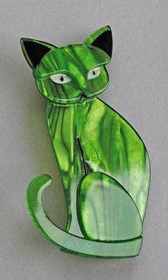 Lea Stein green cat brooch