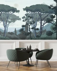 Fresco Toscane - mural 3 to 6 stripes Space Wallpaper, Mint Wallpaper, Trendy Wallpaper, Striped Wallpaper Bathroom, Cafe Interior, Interior Design, Washable Wallpaper, How To Install Wallpaper, Outdoor Restaurant