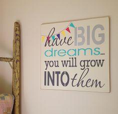 Have Big Dreams Inspirational Handpainted by theshabbyfarmchic, $48.00