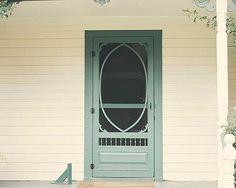 Lovely turquoise wooden screen door!