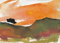 Sunset painting hill with trees £28.00
