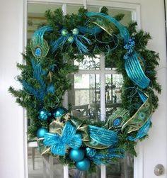 Una guirnalda azul para la puerta