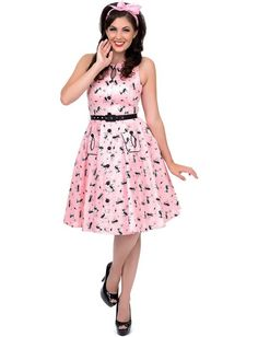 1950s Style Pink Retro Kitty Cut Out Flare Dress Unique Vintage