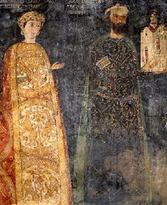 Donor's portrait of sebastocrator Kaloyan and his wife Desislava from the Boyana Church in Sofia, Bulgaria, 13th century