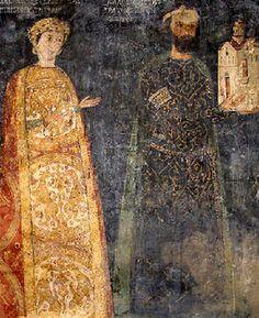 Donor's portrait of sebastocrator Kaloyan and his wife Desislava from the Boyana Church in Sofia, Bulgaria, 13th century