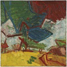 Frank Auerbach, Study of Primrose Hill, 1973-74  Oil on board 121.9 x 121.9 cm
