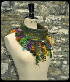 Hand felted wool Collar Cowl Neckwarmer Button up Scarf 'Earth Goddess' - green gold purple - handmade wool fiber ARtWeAR - READY to SHIP on Etsy, $80.00