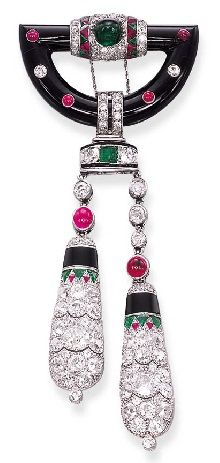 Rosamaria G Frangini | High Antique Jewellery | AN ATTRACTIVE ART DECO RUBY, DIAMOND AND ONYX BROOCH, BY CARTIER, circa 1925.