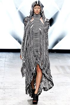 Gareth Pugh, Spring 2012, via style.com Again the optical illusion print but with this one i found it interesting at the impact that just a single line can have when it isn't straight. really perfectly placed.