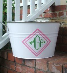 monogram bucket, great for serving drinks!