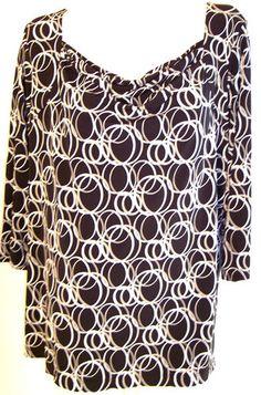 Liz Claiborne Plus Sz Top 2X Blk Gray Circles Rings Drape Neck Stretch Tunic 52B