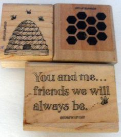 Scrapbooking Rubber Stampin' up, Bee Hive, Honey Comb, Friends we will BEE 1997 #ArtImpressions