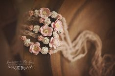 Dusty pink crocheted mohair, pink mulberry flowers, newborn tieback, photography…