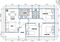 House Roof, Facade House, Small House Plans, House Floor Plans, 3 Bedroom Bungalow, Simple House Design, Spanish House, House Layouts, Floor Design