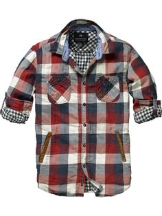 Boyfriend shirt....Checkered Shirt with Leather Welt Pockets and B&W plaid accent from Scotch & Soda