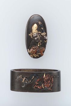 Fuchi-kashira with designs of courtier and assailant, and oni running away with Shoki's banner. Edo period–Meiji era mid to late 19th century - Nara Toshinaga (Japanese, 1667–1736) http://www.mfa.org/collections/object/fuchi-kashira-with-designs-of-courtier-and-assailant-and-oni-running-away-with-shokis-banner-15912