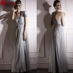 Unique Designer Gray Grey One Shoulder Formal Evening Ball Gown Dress SKU-122203