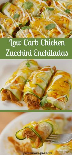 Low Carb Chicken Zucchini Enchiladas- I pin it down again and again because I want to EAT Enchiladas de courgettes au poulet – Recette faible en glucides Paleo Recipes, Mexican Food Recipes, Cooking Recipes, Recipes Dinner, Recipes With Zucchini, Cooking Tips, Easy Recipes, Easy Cooking, Healthy Diabetic Recipes